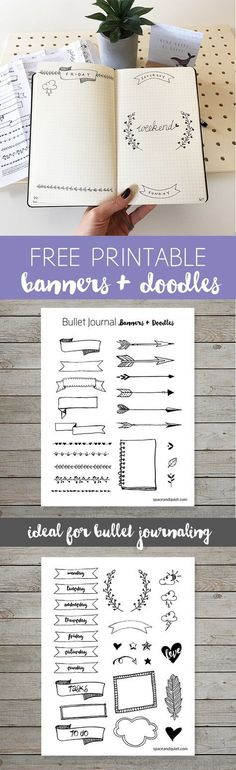 Free Printable Banners and Doodles for your Bullet Journal | Print and trace onto your pages or use sticker paper and cut each one out.