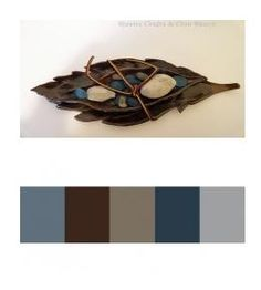 gray and blue accent bedroom   blue gray brown color palette: Rustic Crafts & Chic Decor