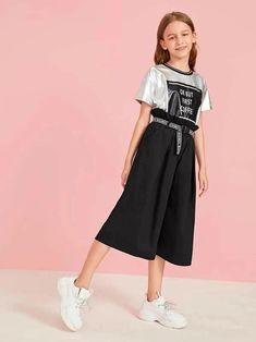 Girls Self Tie Paperbag Waist Capris Culottes Girls Dresses Online, Dresses Kids Girl, Kids Outfits Girls, Cute Girl Outfits, Cute Outfits For Kids, Toddler Girl Outfits, Cute Casual Outfits, Girly Outfits, Toddler Girls