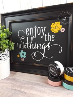 Enjoy the little things on our 9x12 black Aiden chalkboard. Chalk Couture home decor spring design.