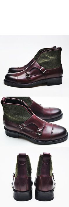 Shoes :: Contrast Accent Monk Strap Chukka Boots-Shoes 166 - Mens Fashion Clothing For An Attractive Guy Look
