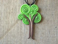 Tree Necklace Pendant from Swirls of Polymer by HipEarthDesigns, $20.00
