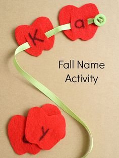Worm Apple Fall Name Activity Fall Name Activity-Button Worm Fine Motor and Apple Name ActivityFall Name Activity-Button Worm Fine Motor and Apple Name Activity Preschool Names, Fall Preschool, Preschool Literacy, Preschool Activities, Preschool Kindergarten, Apple Preschool Crafts, Fall Activities For Preschoolers, Worm Crafts, Preschool Apples