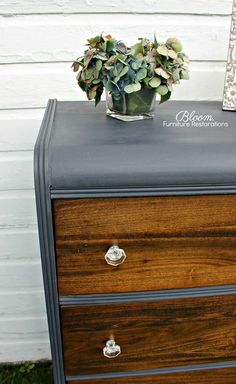 "Vintage Waterfall Dresser in custom ""Blue Jean"" chalk with walnut stained drawer fronts, wax finish from top to bottom and brand new glass hardware"