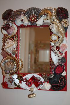 A Noir Rouge Sea Shell Jewelry  Mosaic Mirror by SeaForYourself, $73.00