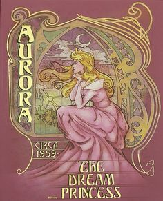 Aurora Sleeping Beauty, 1959 Disney Art Nouveau by Enrique Pita & Ed Irizzary Disney Fan Art, Disney Princess Art, Art Nouveau Disney, Disney Dream, Disney Love, Sleeping Beauty Maleficent, Disney Sleeping Beauty, Walt Disney, Disney Magic