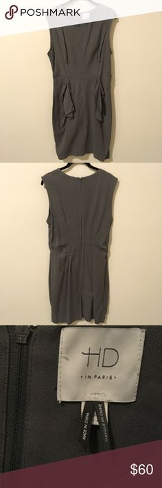 HD in Paris Anthro Grey Silk Ruffle Dress HD in Paris dress with no sleeves and a Ruffle Detail front part - made from silk and is mid length and not lined. Size 12 Anthropologie Dresses Midi