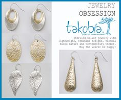 Just a few of the wonderful earrings from the Takobia collection. All priced at $19.99!