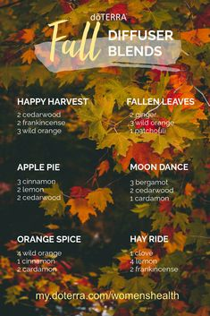 Bring that festive fall feeling into your home with these amazing oil blends! Find more recipes, DIY's and Diffuser Blends at my.doterra.com/womenshealth