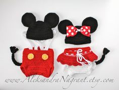 MICKEY and MINNIE BABY Costumes - twins - photo prop - acrylic/ wool - Made To Order on Etsy, $99.00