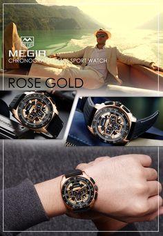 Men's Army military watch - Megir 2056 chronograph silicone timepiece - Men's fashion accessories #menswatch #timepiece