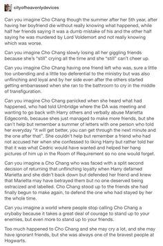 Cho Chang, Harry Potter, hp, Marietta eddgecombe