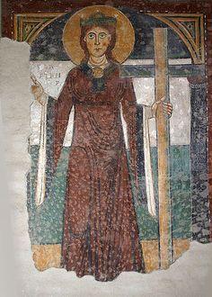 Milano, Basilica di San Lorenzo Maggiore. Affresco medievale del sec. XII con Sant'Elena.