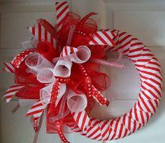Candy Cane..Spiral..Deco Mesh Wreath.