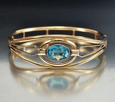 Art Nouveau Aquamarine Gold Fill Bangle Bracelet