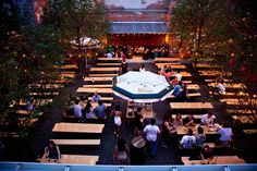 Frankford Hall: Probably the most authentic-feeling beer garden in Philadelphia, with indoor/outdoor seating for 400+, multiple bars, an abundance of picnic tables and games ranging from Jenga to ping pong. (Photo by T. Scheid for Visit Philadelphia)