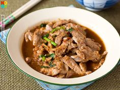 Easy recipe for Chinese stir-fried pork in my mum's spicy & savoury taucheo chilli.