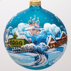 The scenery of the poured in a snow Russian village and beautiful trio horses, harnessed abreast in the sleigh and ready to go in a long trip, seems came from winter fairy tales! The bright blue Christmas ornament is perfect for New Year interior design or as a Christmas souvenir!  This ornament is also a wonderful and unique element of interior design – just purchase our ornament stand HERE.