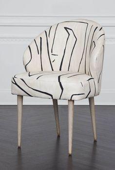 Kelly Wearstler Graffito Chair in Linen/Onyx