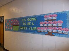 Welcome Bulletin Board w/ cupcake tower & mega cupcake
