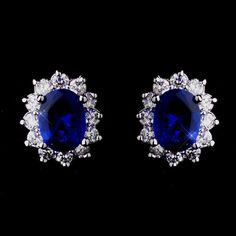 Princess Kate Middleton Inspired Silver Sapphire Blue CZ Earrings