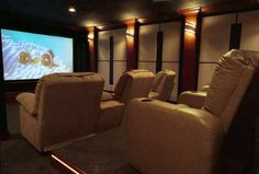 Can't wait to do our home theater....one day.... It won't be this nice, but a projector screen would be nice!!