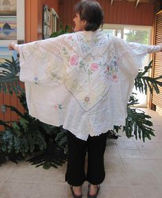 My Bonny Vintage Antique Linens caftan huipil tablecloth shawl alternative wedding Eclectic ARTISAN Wearable Folk Art COLLAGE Clothing - One Size