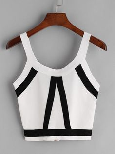 Crop Cami Designed with Scoop Neck, Spaghetti Strap. Slim fit. Striped design. Trend of Summer-2018. Designed in Black and White. Fabric has some stretch.