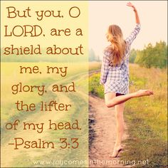 But you, O LORD, are a shield about me, my glory, and the lifter of my head. Psalm 3:3