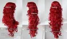 [Kasou Wig] crimson red long curly side part bangs 90cm long wig poison ivy . women wig