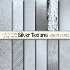 Silver Digital Paper: SILVER TEXTURES Silver by DigitalStories