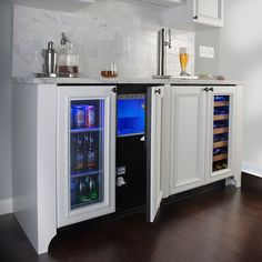 Beer fridge, ice maker, sink, kegerator/taps, and wine fridge. Basement Bar Designs, Home Bar Designs, Basement Ideas, Basement Closet, Wine And Beer Fridge, Coffee Nook, Coffe Bar, Coffee Corner, Indoor Bar