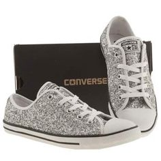 Women's Silver Converse All Star Dainty Glitter Ox Trainers Silver Converse, Converse Bag, Glitter Converse, White Converse, Trendy Shoes, Cute Shoes, Casual Shoes, Formal Shoes, Best Sneakers