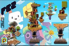 First Level of Indie Game Fez Reconstructed with LEGO Bricks