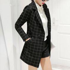 spring autumn new blazer women jacket slim medium-long plaid long-sleeve casual suit blazer Female