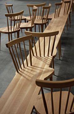Banc avec chaises fondues à l'intérieur - mobilier urbain
