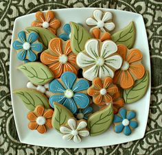 Mod flower royal icing decorated cookies