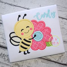 Bee Hugs Flower Applique Design For Machine Embroidery, shown with our Autumn font NOT included, INS Shirt Embroidery, Machine Embroidery Applique, Embroidery Files, Embroidery Designs, Machine Applique Designs, Hand Applique, Flower Applique, Applique Patterns, Butterfly Quilt