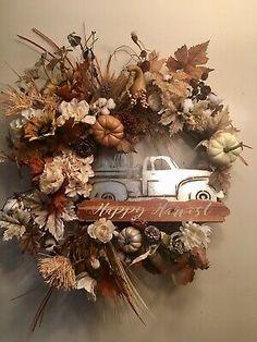 Farmhouse Fall Pick Up Truck Designer Wreath Fall Home Decor | eBay