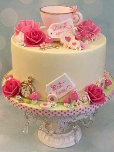 Tea party teacup birthday celebration cake alice in wonderland clock, cookies key