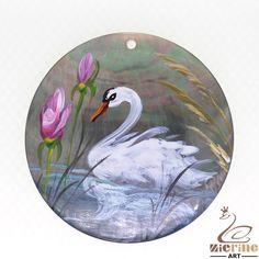 Fashion Pendant Hand Painted Swan Natural Black Lip Shell ZL301770 #ZL #Pendant