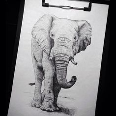My old #artwork. First photo from my new home,Lisbone⚓️. #art #sketch #gelpan #pan #dotwork #dot #tattoo #elephant #black