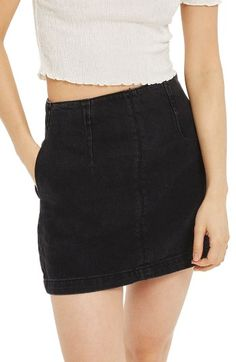 Free shipping and returns on Topshop A-Line Denim Miniskirt at Nordstrom.com. This washed and faded denim miniskirt has been tailored to show off your curves and your punky, flirtatious sense of style.