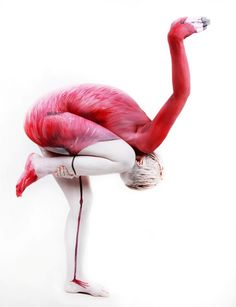 HUMAN FLAMINGO - Gesine Marwedel | Body Painting Prints