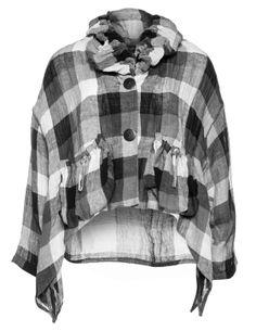 Karierte Leinenjacke mit Schlauchkragen von Vincenzo Allocca in Schwarz / Grau.Designermode ab Größe 42 navabi