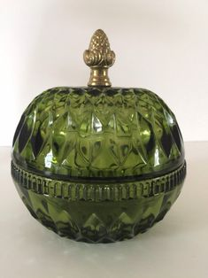 Excited to share this item from my shop: Green Indiana Glass Lidded Candy Dish / Serving Dish , Mt. Vernon Pattern With Brass Acorn