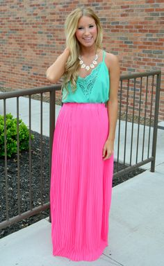 Think PINK Pleated Maxi Skirt