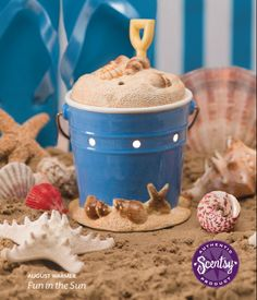 """Scentsy Warmer of the Month for August 2014.  """"Fun in the Sun"""" Bring the beach home with this playful, hand-painted blue pail with a movable metal-and-wood handle. Full of realistic coastal sand and scavenged shells, this three-piece warmer is the perfect way to capture the memories of your days at the beach!  Available during August 2014 at 10% off! Place Your Order Today at: http://BernadetteWard.Scentsy.US Follow Me on FaceBook at: My Scentsy Family Business"""