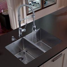 Vigo Platinum Double Equal Undermount Stainless Steel Kitchen Sink Set modern kitchen sinks