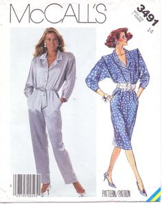 Misses Dress or Jumpsuit: Dress or jumpsuit with notched collar has buttoned front opening, shoulder flanges, shoulder pads, three-quarter sleeves pleated and buttoned at lower edge, inset pockets, front pleats and self-fabric tie belt. Dress has straight skirt with back slit. Jumpsuit has tapered legs.  Pattern printed in 1987 by McCalls Patterns and is in factory folds. This is an original sewing pattern with all of the original pattern pieces and instructions. This is not a PDF or copy…